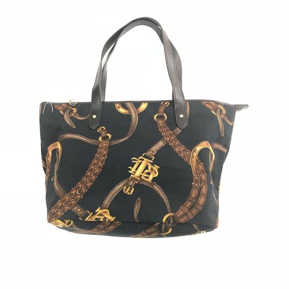 0fb8c82bad9f Lauren Ralph Lauren Handbags - LRL Equestrian Canvas Leather Trim Tote  Handbag